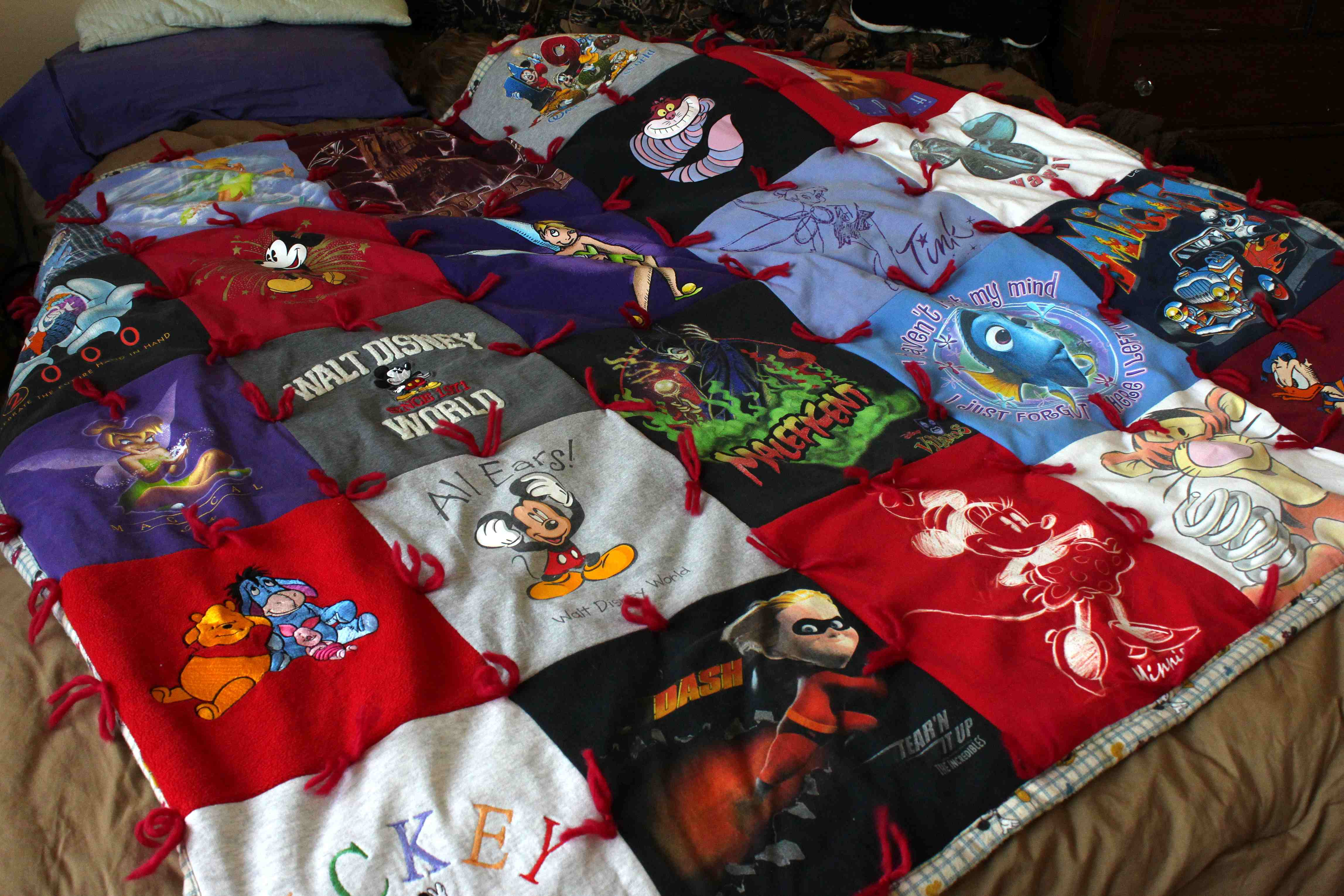 Disney home in the craft room making a keepsake t for How to make t shirt quilts easy